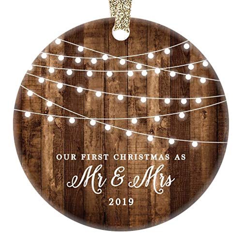 """First Christmas as Mr & Mrs Ornament 2019 Rustic 1st Year Married Newlyweds 3"""" Flat Circle Porcelain Ceramic Ornament w Glossy Glaze, Gold Ribbon & Free Gift Box   OR00300 Delfino image"""