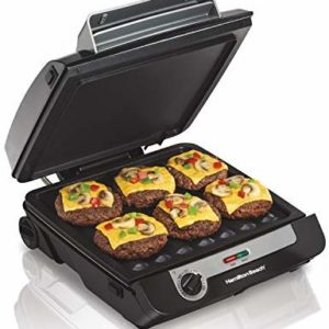 Hamilton Beach 3-in-1 Indoor Grill and Electric Griddle Combo and Bacon Cooker, Opens 180 Degrees to Double Cooking Space, Removable Nonstick Grids, (25600) image