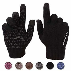 Achiou Winter Knit Gloves Touchscreen Warm Thermal Soft Lining Elastic Cuff Texting Anti-Slip 3 Size Choice for Women Men image