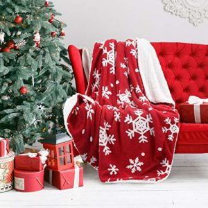 Bedsure Christmas Holiday Sherpa Fleece Throw Blanket Snowflake Red and White Fuzzy Warm Throws for Winter Bedding, Couch,Sofa and Gift 50x60 inches image