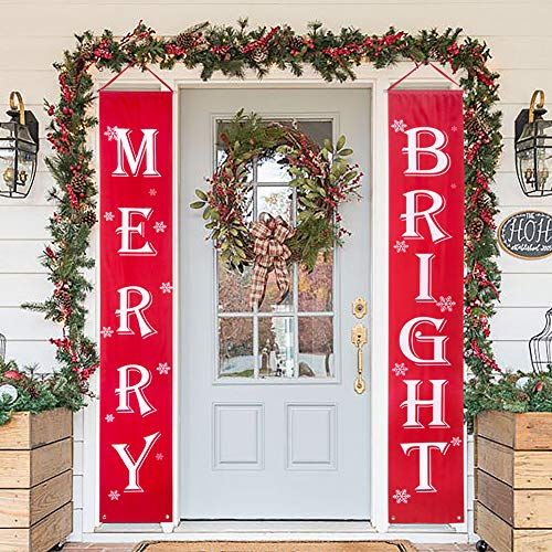 Christmas Banner Decorations Outdoor Indoor Merry Bright Christmas Porch Sign Red Xmas Door Banner for Home Fireplace Wall Decor image