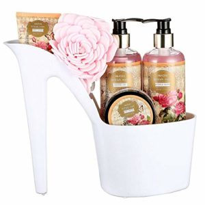 Draizee Spa Luxurious Home Relaxation Lovely Fragrance Gift Bag for Woman (Rose Scented Heel Shoe, 4 Pieces) - #1 Best Christmas Gift for Women image