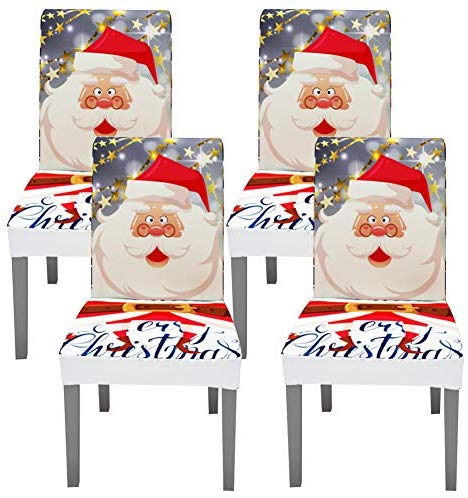 Fuloon Super Fit Stretch Jacquard Removable Washable Short Dining Chair Covers Seat Slipcover for Hotel,Dining Room,Ceremony,Banquet Wedding Party (4, Mix Gray-Christmas) image