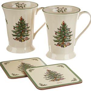 Spode Christmas Tree Mug and Coaster Set, Set of 2 image