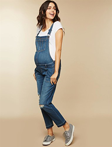 Motherhood Maternity Women's Maternity Indigo Blue Side Panel Skinny Ankle Length Denim Overalls