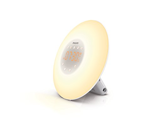 Philips Wake-Up Light Alarm Clock with Sunrise Simulation and Radio, White (HF3505)