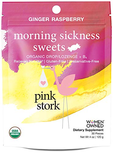 Pink Stork Morning Sickness Sweets: Ginger Raspberry Nausea Relief Hard Candy, USDA Organic + Vitamin B6, Women-Owned, 30 Sweets