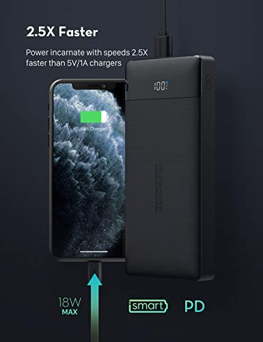 RAVPower Portable Charger 20000mAh PD 3.0 Power Bank QC 3.0 18W USB C External Battery Pack Tri-input and Tri-output Cell Phone Charger Battery for iPhone, Samsung Galaxy and More