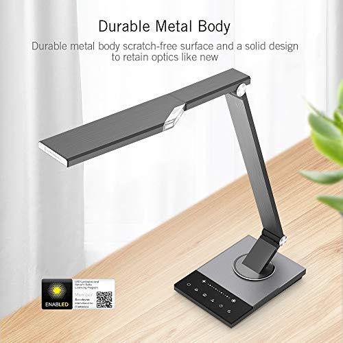 TaoTronics TT-DL16 Stylish Metal LED Desk Lamp, Office Light with 5V/2A USB Port, 5 Color Modes, 6 Brightness Levels, Touch Control, Timer, Night Light, Philips EnabLED Licensing Program